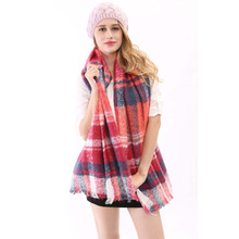2015 New Fashion Style High Quality England Style Pink And Blue Patchwork Color Tartan Plaid Blanket Scarf 2015 For Women Ladies