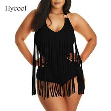 2016 L-3XL Women Plus Size One Piece fringe Swimsuits Padded Halter large size swimwear Tassel Bathing Suit tracksuit for women