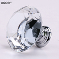 8PCS 40mm Diamond Crystal Glass Door Knobs Drawer Cabinet Furniture Handle Knob Screw