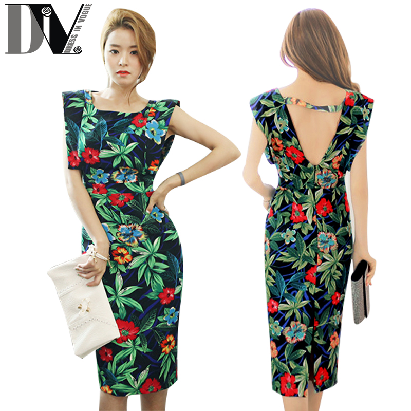 DIV Women Party Bodycon Dresses Sleeveless High Waist Backless Cut Out Vestido Vintage Floral Graphic Print Pencil Casual Dress(China (Mainland))