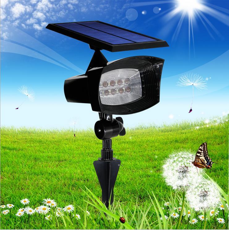 8 led solar powered spotlight outdoor garden landscape