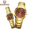 EASMAN Watch Brand Lovers Tungsten Steel Gold Watch Waterproof Luxury Sapphire Glass Quartz Wristwatches Watches For