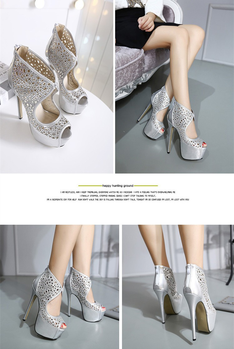 Size 4~9 Silver Summer Women Shoes Peep Toe 16cm High Heels Shoes Zipper Platform Women Pumps zapatos mujer (Check Foot Length)