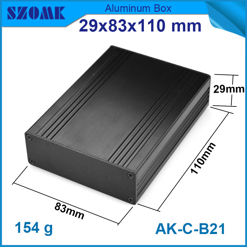 1 piece black brushed aluminum cabinet for electronics with heatsink  29*83*110mm<br><br>Aliexpress