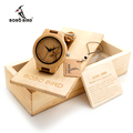 BOBO BIRD Wooden Watch Ladies Engrave Deer Bamboo Dial Quartz Wristwatch with Genuine Leather Band in