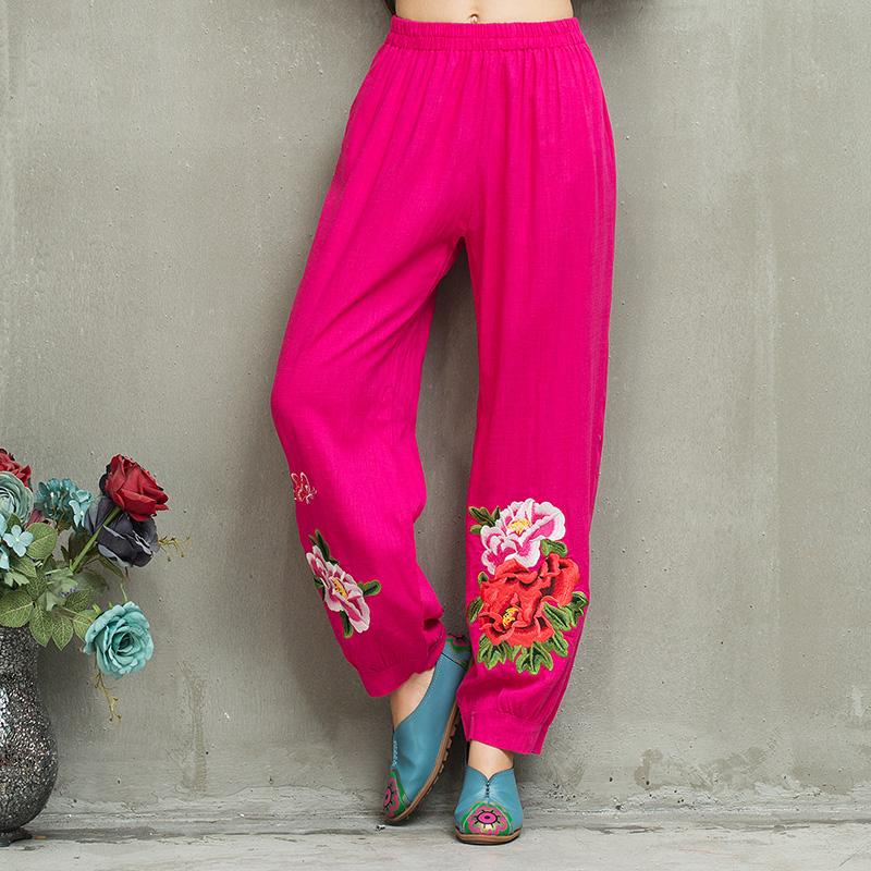 Women Gypsy Style Long Elastic Waist Black Embroidery Harem Pant 2017 Loose Ethnic Ankle-Length Pants Chinese Clothing