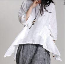 Girls spring and summer linen loose irregular art Fan Super cents Sen  blouses(China (Mainland))