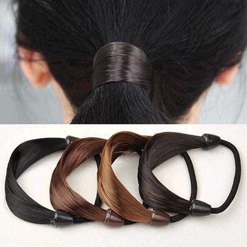 1PCS Hair Accessories Rubber Band Gum Bandage On Head Wig False Hair Rope Ring Ponytail Elastic Hair Band 4 Color Available(China (Mainland))