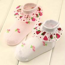 Lovely Strawberry Lace Baby Socks Child Kids Breathable Mesh Socks Thin Cotton Princess Girl Skirt Socks Children Sox 6409203