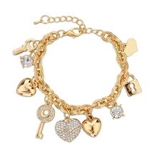 Fashion Heart Beetle Charm Bracelets Bangles For Women Real Gold Plated Bracelet Austrian Crystal Chain Pulseras SBR140221(China (Mainland))