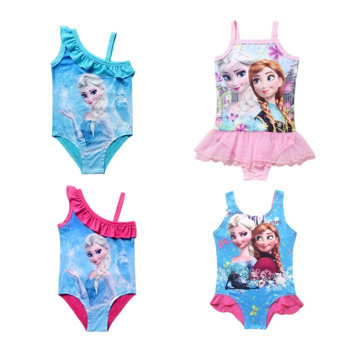 One Piece Child Litter Kids Elsa Girls Swimwear Bikini Kids Swimsuit For Girls Shoulder Bathing Suit Baby Infant Swimwear 3-11T(China (Mainland))