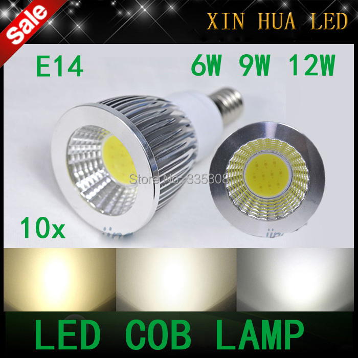 1E14 E27 GU10 AC220V/AC110V led cob light 6w 9w 12w dimmable Spotlight lamp bulbs - Xin Hua Electrical LED Store store