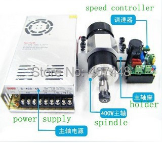 400w DC 24V-52V motor 12000rev/min speed universal mach3 spindle /52mm holder /speed controller/power supply - lishui city hengli Automation Technology co., ltd. store