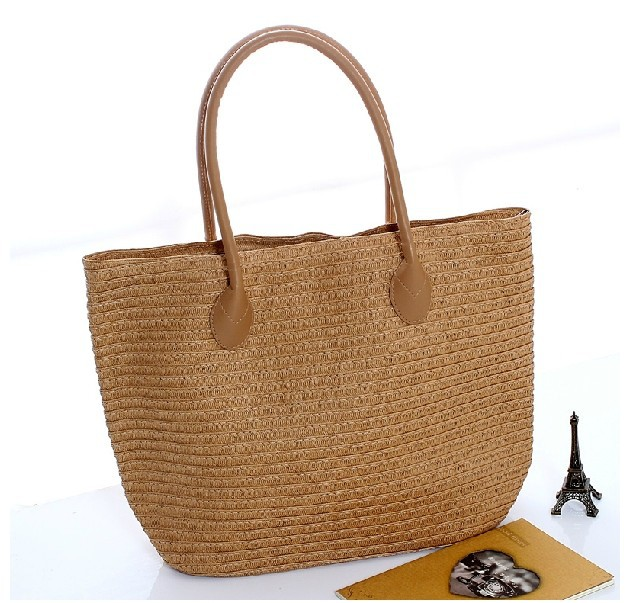 New Summer Fashion Women Large Zip Handmade Straw knitted Tote Beach Bags Sacs de plage Bolsos Playa Brown Beige 5 Colors(China (Mainland))