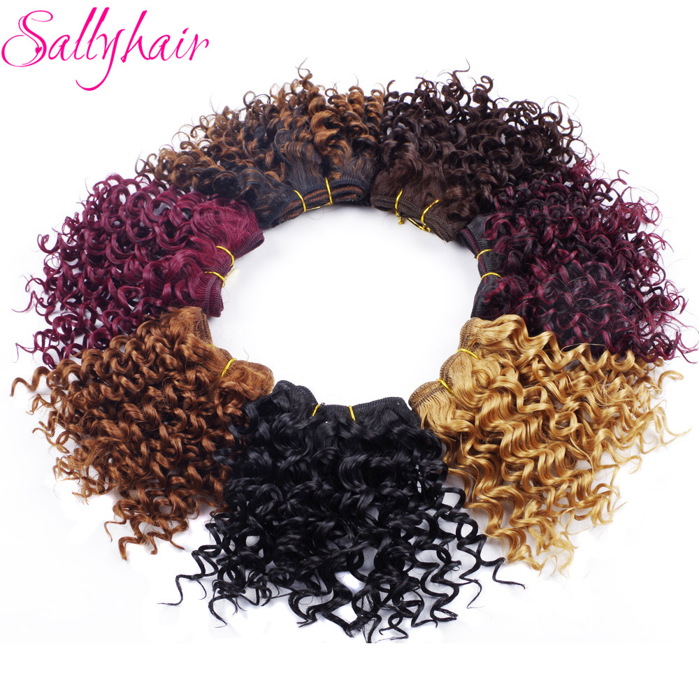 Sallyhair Ombre Color Afro Kinky Curly Crochet Hair Weave Mixed Black Burgundy Synthetic Hair Extensions 3pclot Hair Weavings  (32)