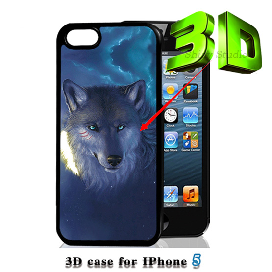 3D Wolf Animal Painting Case iPhone 4 4s 5 5s s hard plastic back luxury mobile phone protective cover capa Brand New Design - Forrest Technology store