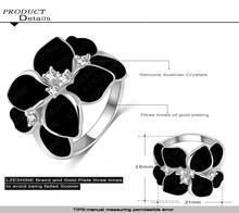 Exaggerated Design Platinum Plating Austrian Cystal SWA Element Black Flower Ring For Women Ri HQ1006 B