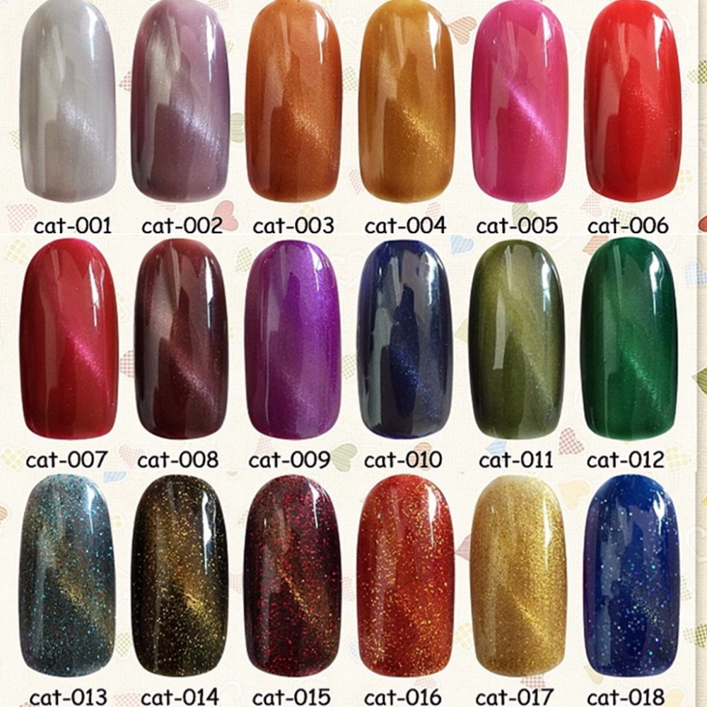 18 colors 10ml Cat Eyes LED UV Gel Polish Nail Long-Lasting Magnetic Lacquer Art Varnish Tools - Rose's Heart store