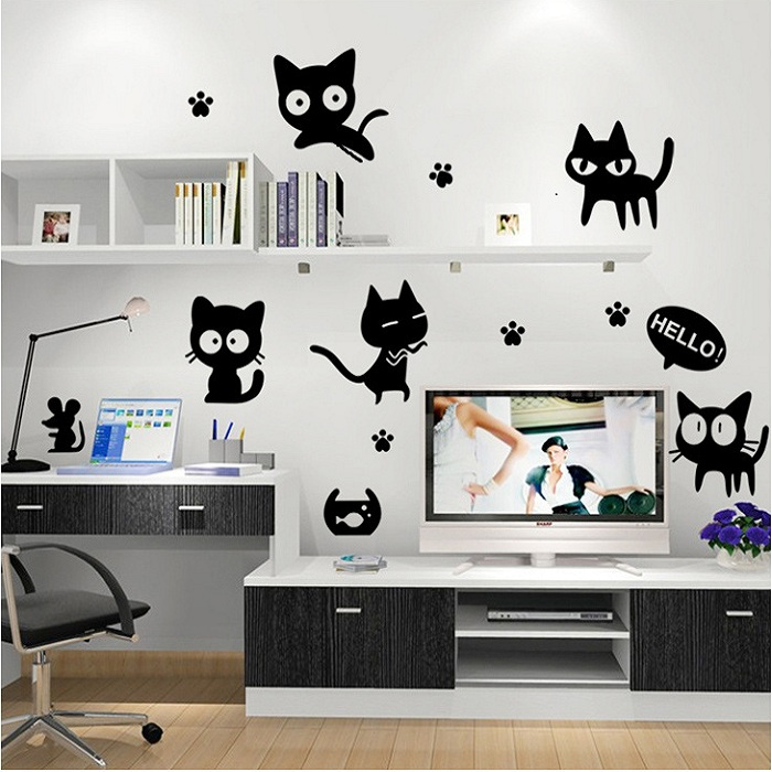 Cartoon black cat cute diy vinyl wall stickers for kids for Stickers para decorar paredes infantiles