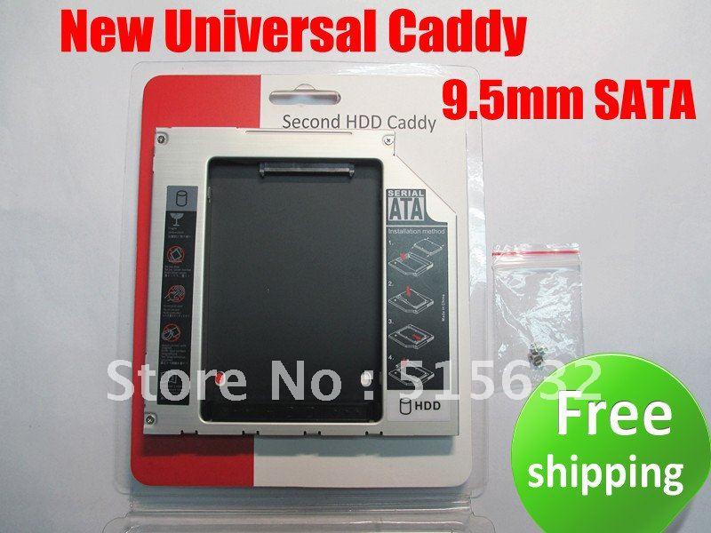Free shipping NEW SATA 2nd HDD Hard Drive Caddy 9.5mm Universal DV22<br><br>Aliexpress
