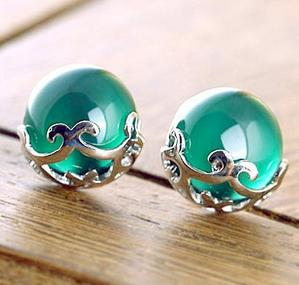 CE61 Green agate opal garnet stud earrings silver plated fashion jewelry factory wholesales B7(China (Mainland))