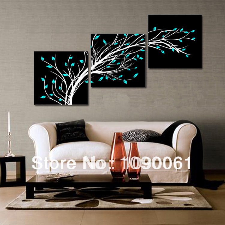 Handmade 3 piece artwork wall pictures living room art Blue flowers decoration abstract oil painting canvas frame - Enjoy Living Museum store