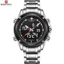 Lujo NAVIFORCE marca relojes hombres acero lleno del cuarzo reloj Digital LED Watch militar del ejército reloj deportivo para hombre relogio masculino
