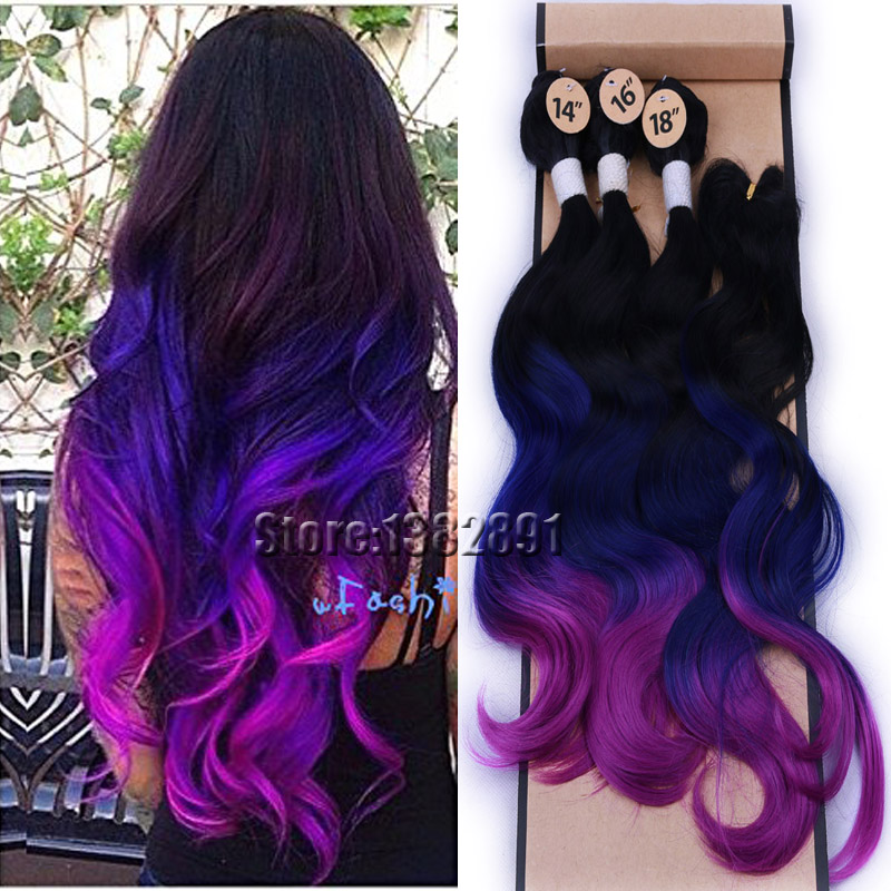 Purple blue and black hair