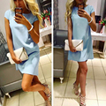 Womens Dresses New Arrival 2017 Short Sleeve Casual Mini Dresses Solid O neck Elegant Sexy Party