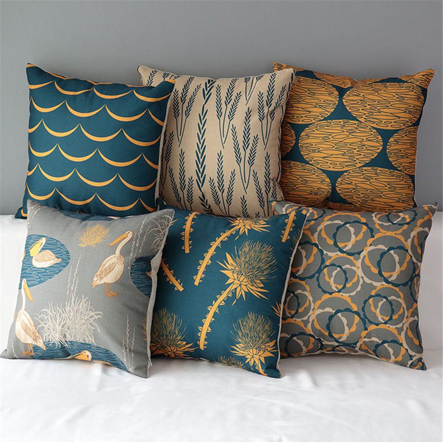 18 square natural colourful cotton linen cushion sofa decorative throw pillow chair car home - Decorative throws for furniture ...