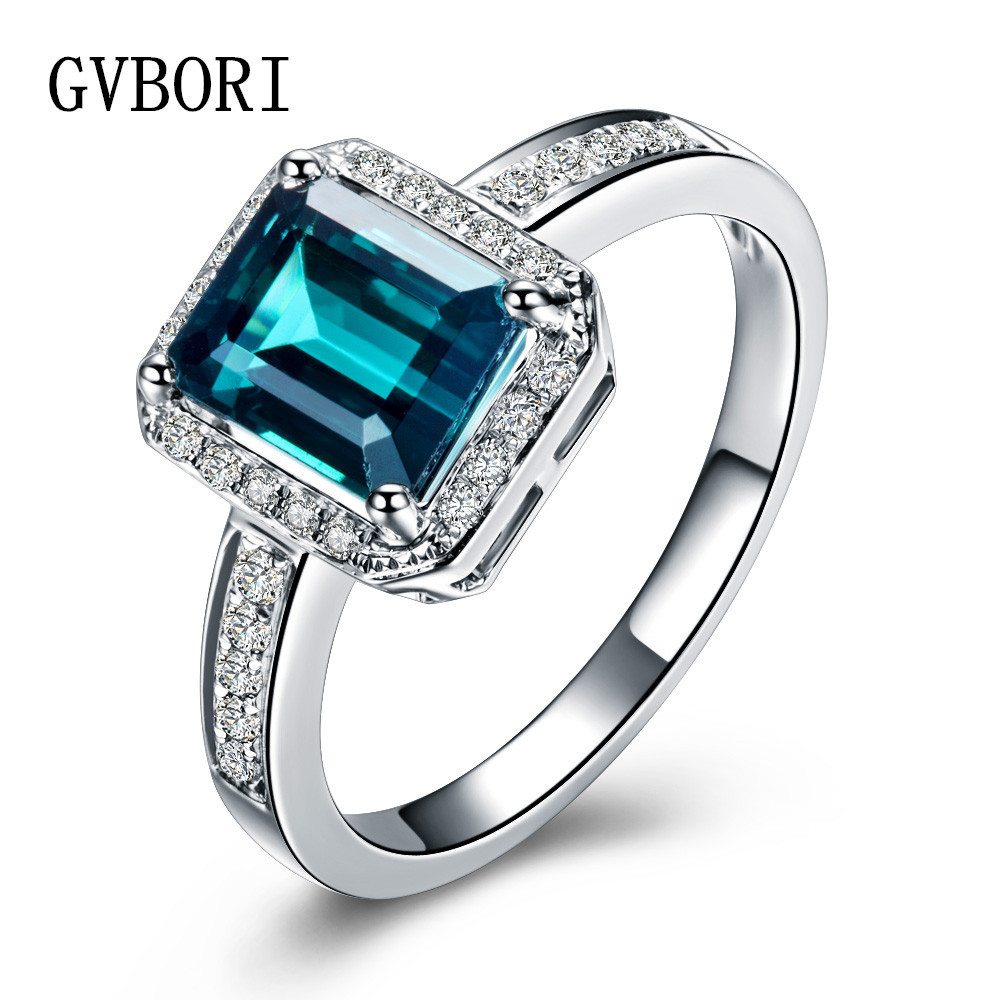 Luxury GVBORI 18K White Gold Natural Green Tourmaline Gemstone & Diamond