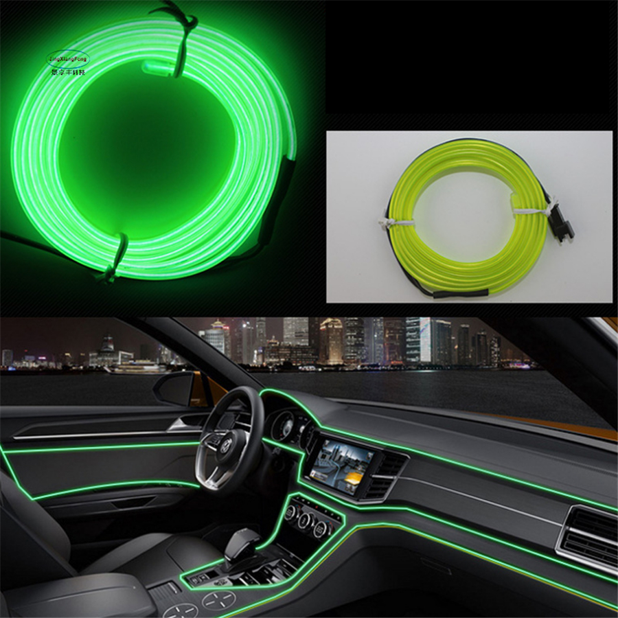 jingxiangfeng diy decoration car interior led el wire rope tube neon light line 10colors. Black Bedroom Furniture Sets. Home Design Ideas