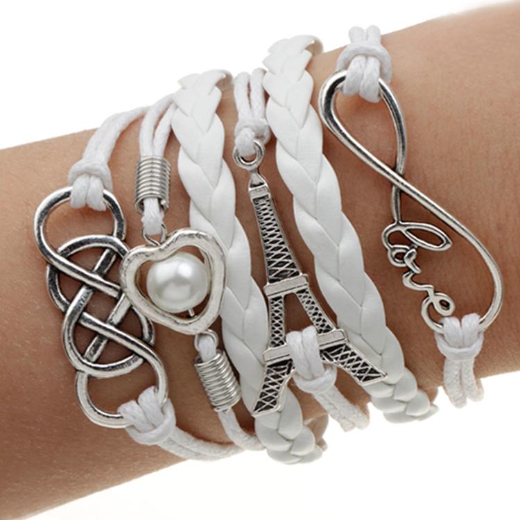 Handmade Charm Bracelet Eiffel Tower Love Anchors Wrap Leather Bracelet pulseira couro bracelets for women(China (Mainland))