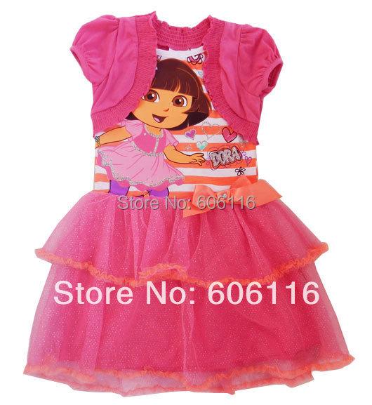 Retail hot sell children False two dora dress in dark pink with bows ( 5 to 7 years) children skirt, kids summer wear<br><br>Aliexpress