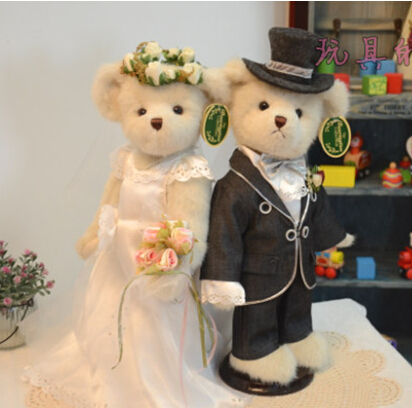 38cm 2pcs in gift box+2 free holders couple wedding teddy bear plush toy stuffed girls doll birthday&amp;christmas gift<br><br>Aliexpress
