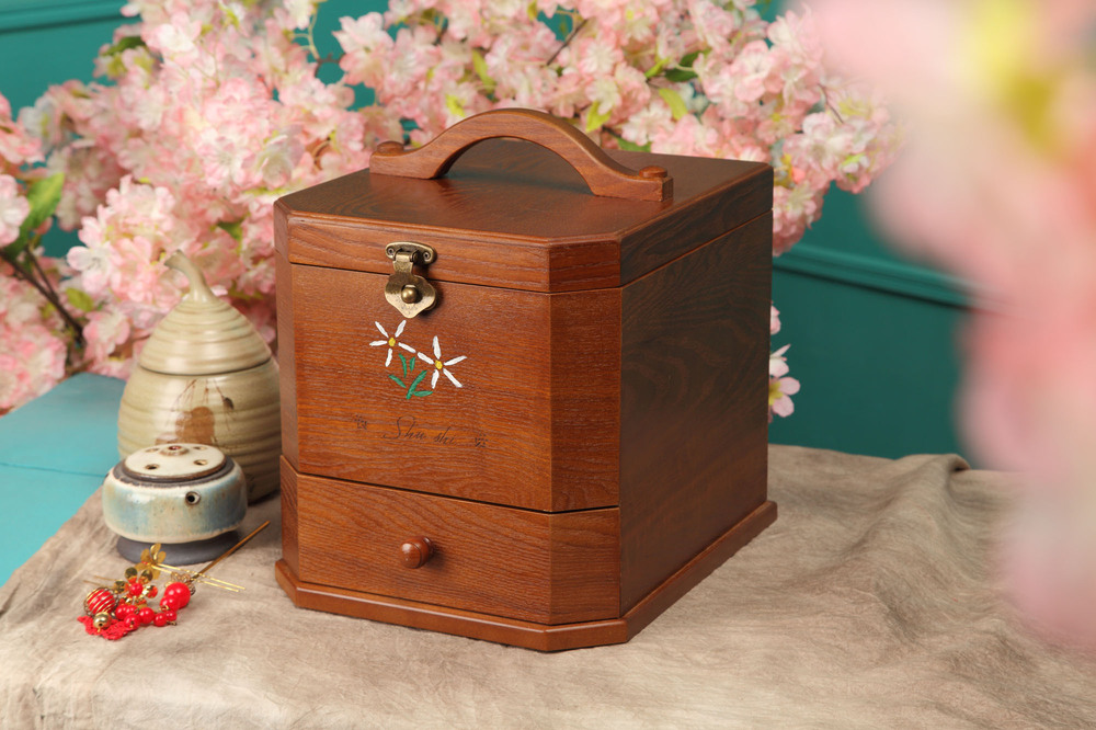 Retro-style rooms with a portable mirror irregular wooden dressing case Cosmetic Case Cosmetic Storage Box(China (Mainland))
