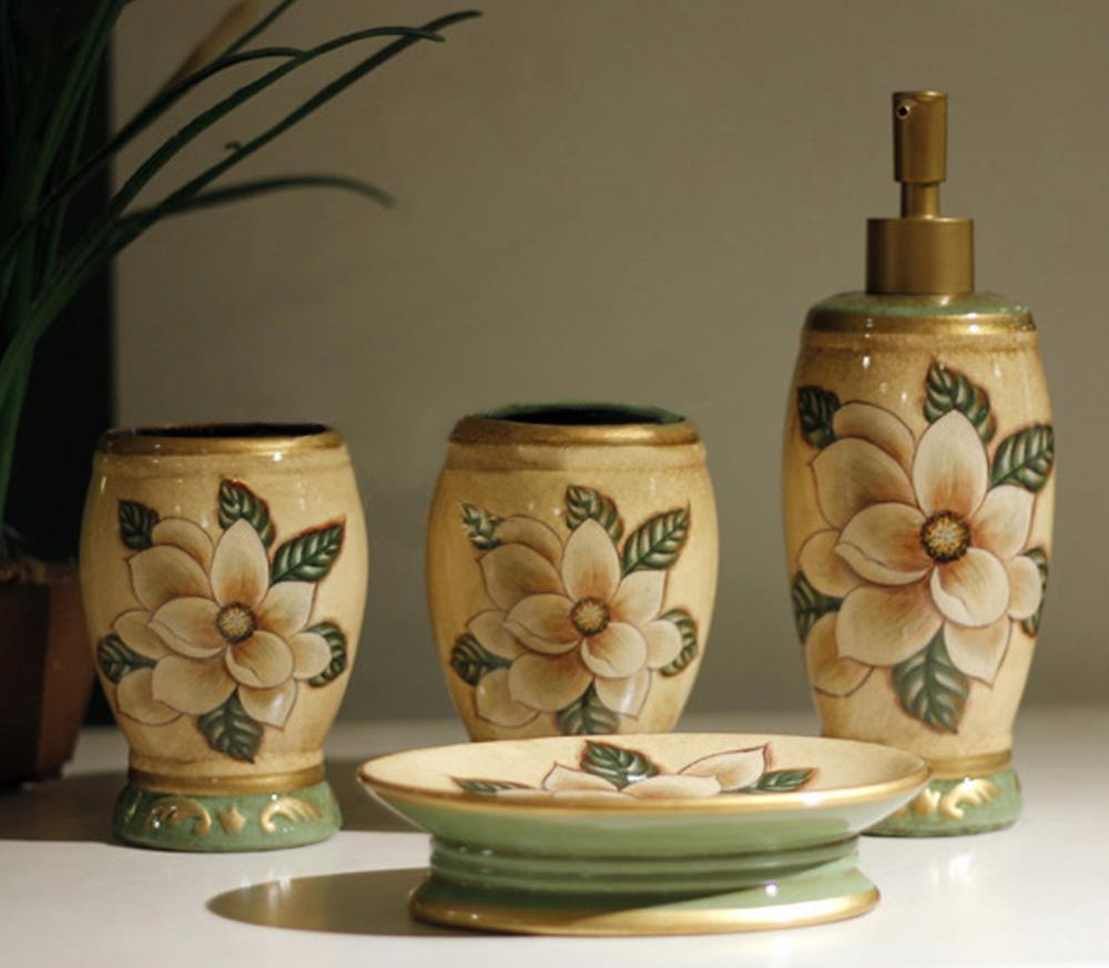 New 4pcs lot flower bathroom set ceramic bathroom for Ceramic bathroom accessories sets