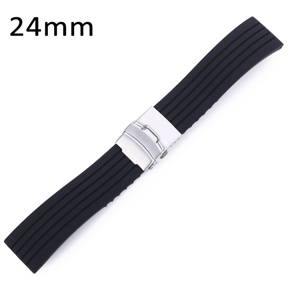 2016 Fashionable Stripe Design Rubber Watch Band Stainless Steel Folding Clasp with Safety Strap Watchbands 18mm 20mm 22mm 24mm(China (Mainland))