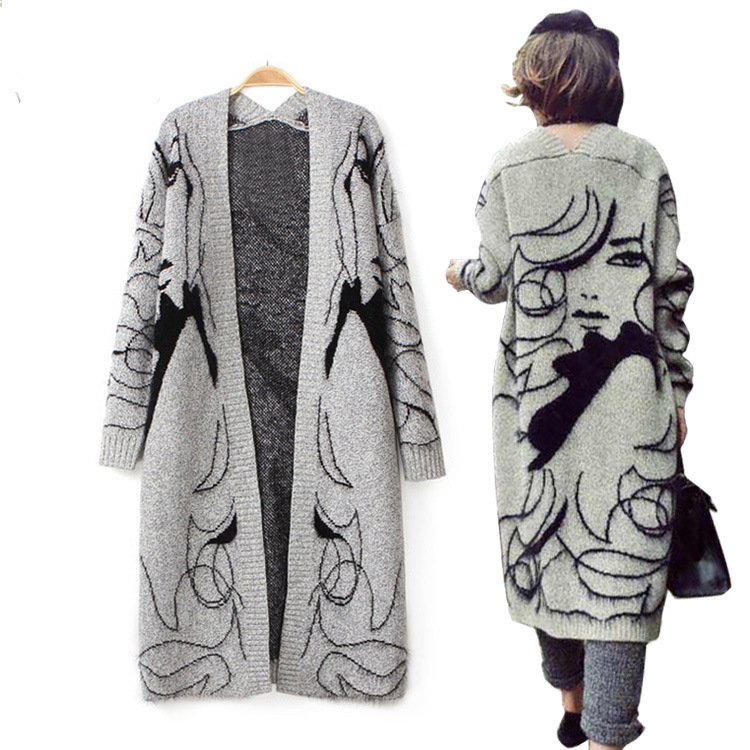 Free Size 2015 Autumn Winter Women's Long Grey Loose Knitted Beauty Woolen Cardigan Sweater Outwear Cappa Women(China (Mainland))