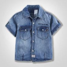 Fashion denim shirt short sleeve for  boy  cotton 100% DSS1501
