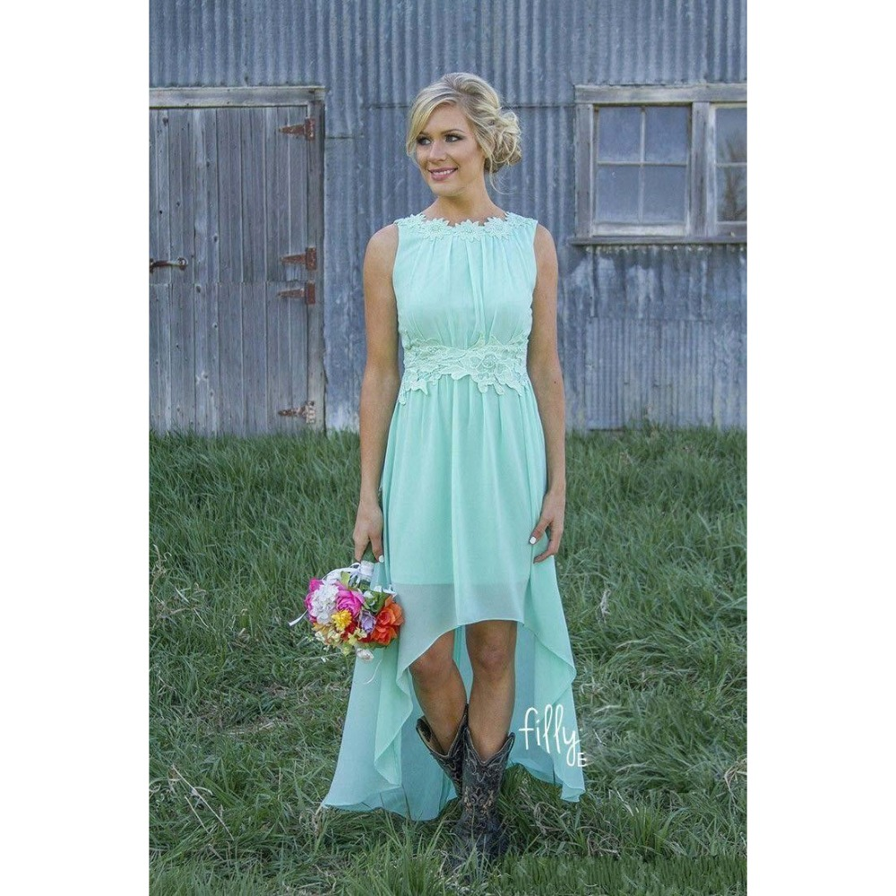 2016 mint orange country cheap bridesmaid dresses for