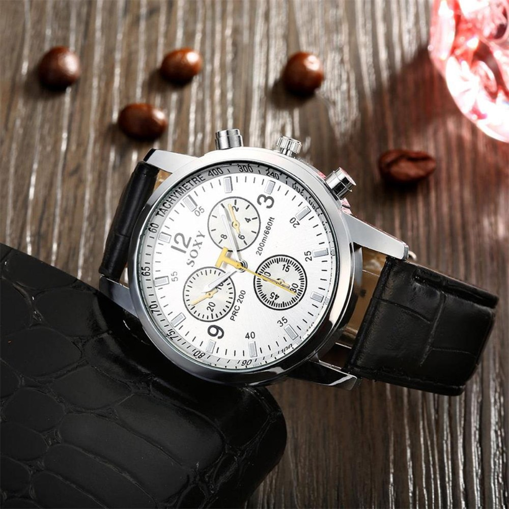 Fashion Men Business Watches Men's Casual Black Face Leather Brand watch men Clock Masculino C3763P20