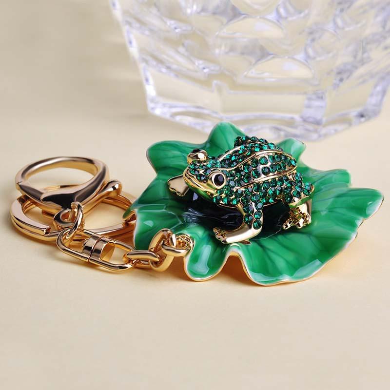 Charming Irregular Big Enamel Epoxy Green Frog Gold Key Chains Christmas Present Special Look Animal Chaveiro Keyring Lady Bags(China (Mainland))
