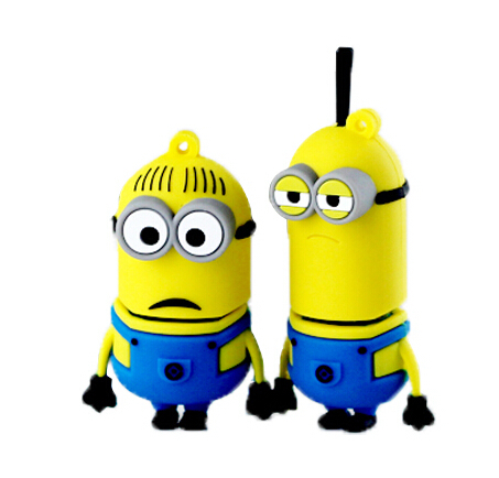 Free shipping Despicable Me 2 Creative Minions 32GB 16GB 8GB 4GB USB 2.0 Flash Drive Pen Memory Disk Stick Pendrivers Gift(China (Mainland))