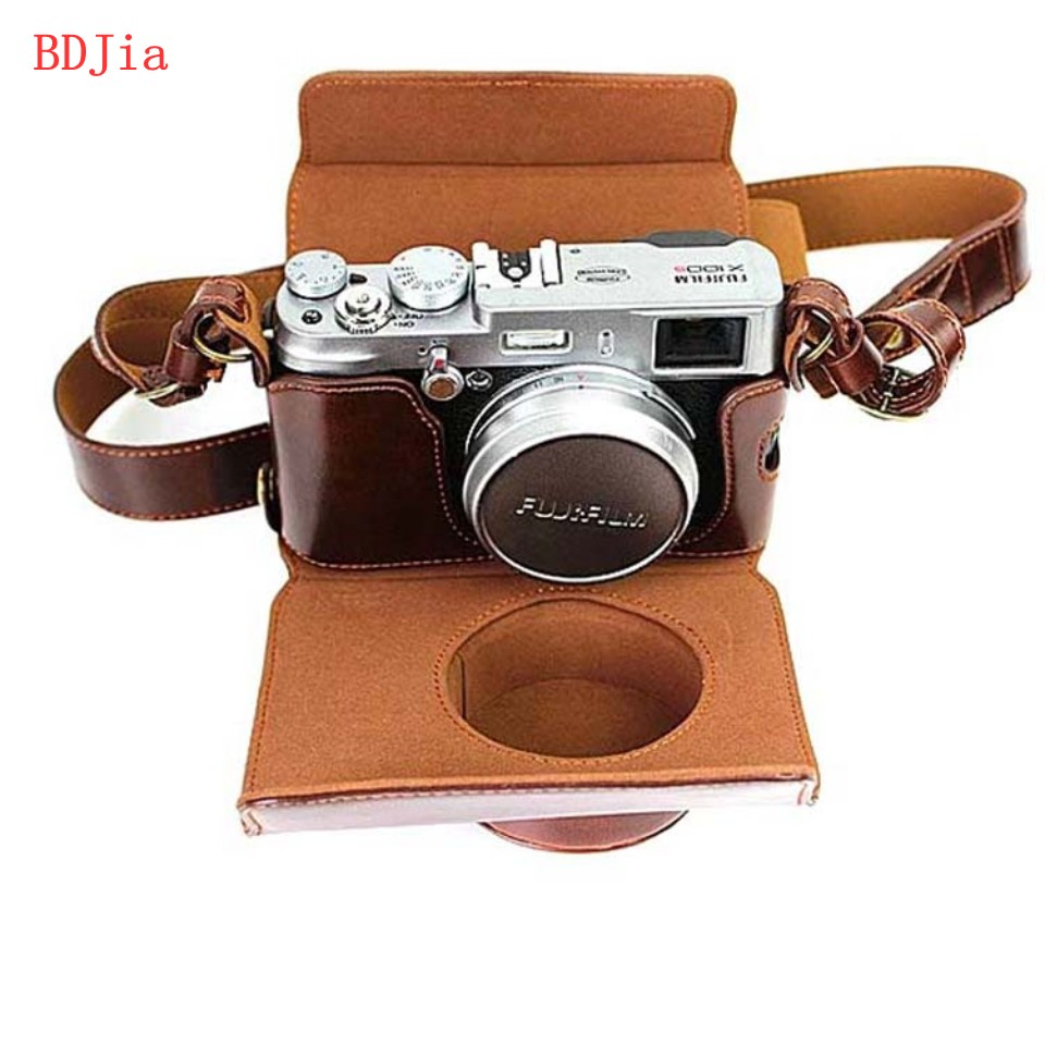 New Luxury Leather Camera Case For Fujifilm X100T X100S X100 Camera PU Leather Camera Bag Cover With Battery Opening + strap(China (Mainland))