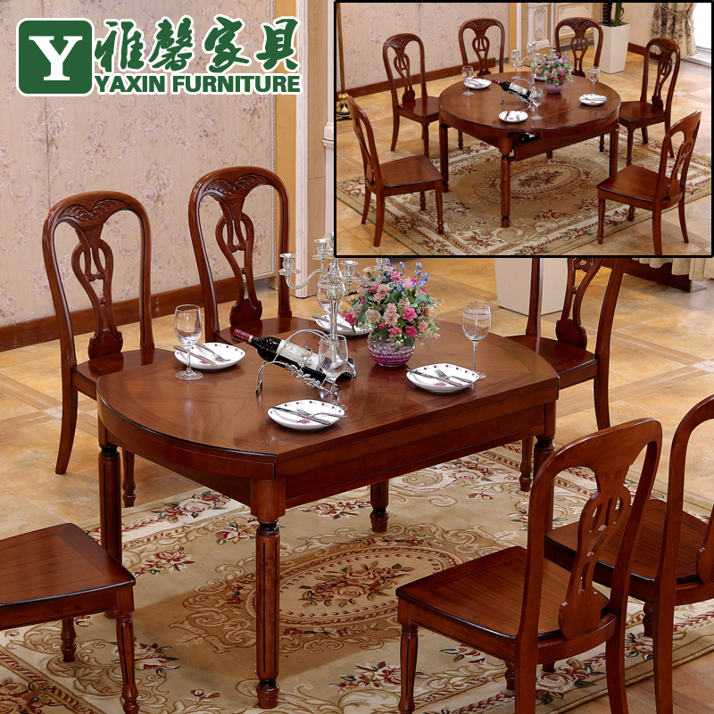Wood Dining Tables And Chairs Combination Table Folding Retractable Simple Mo