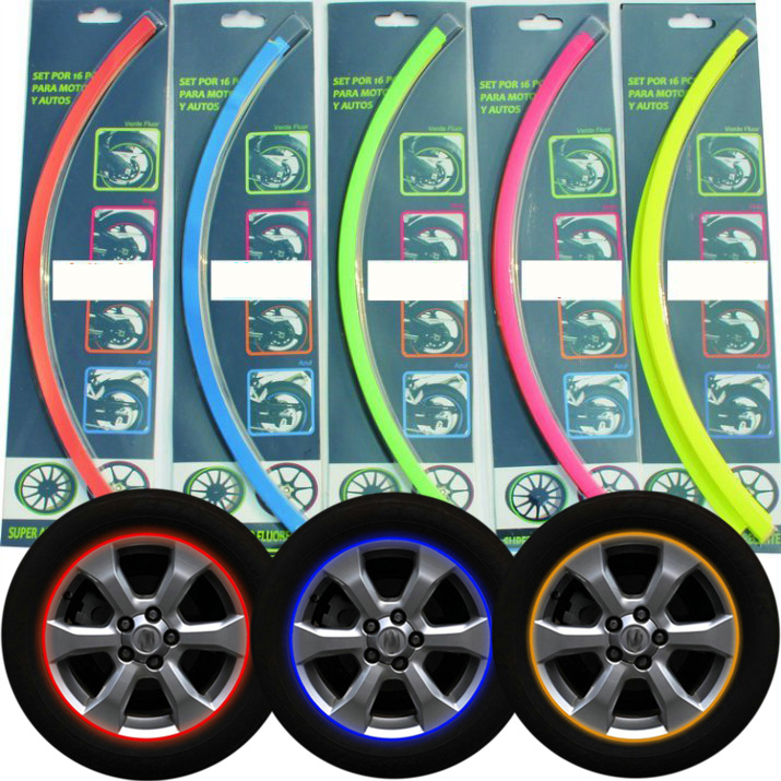 5 Color 16 Strips Motorcycle Car Wheel Stickers Reflective Rim Stripe Tape DECAL(China (Mainland))