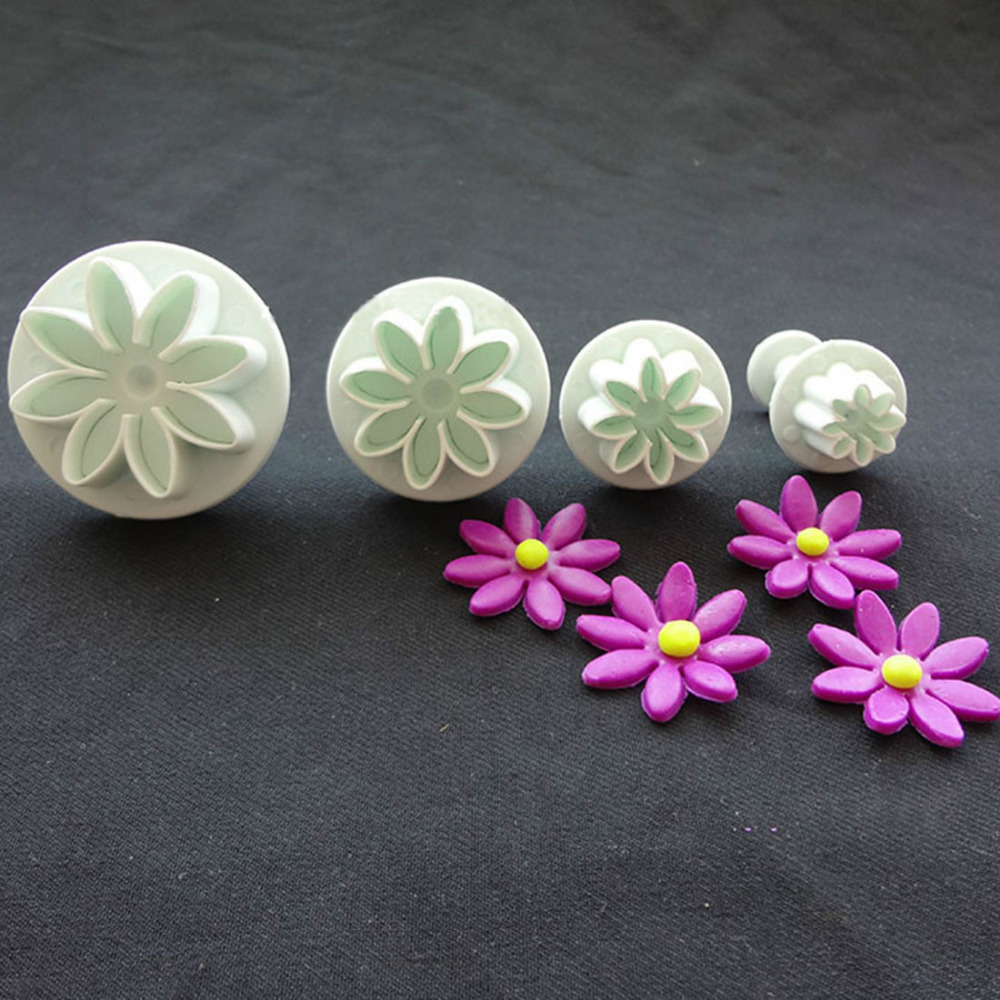 4Pcs/Set Daisy Flower Cookie Sunflower Plunger Cutter Sugarcraft Fondant Cake Tool Christmas Decorating Tools - Pingzi_Store store