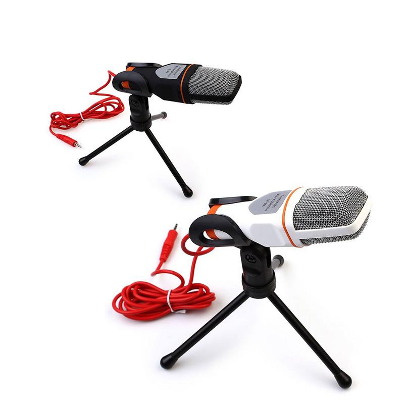 Гаджет  White Professional Condenser Microphone Mic w/ Stand For PC Laptop Skype MSN Singing 85503 None Бытовая электроника