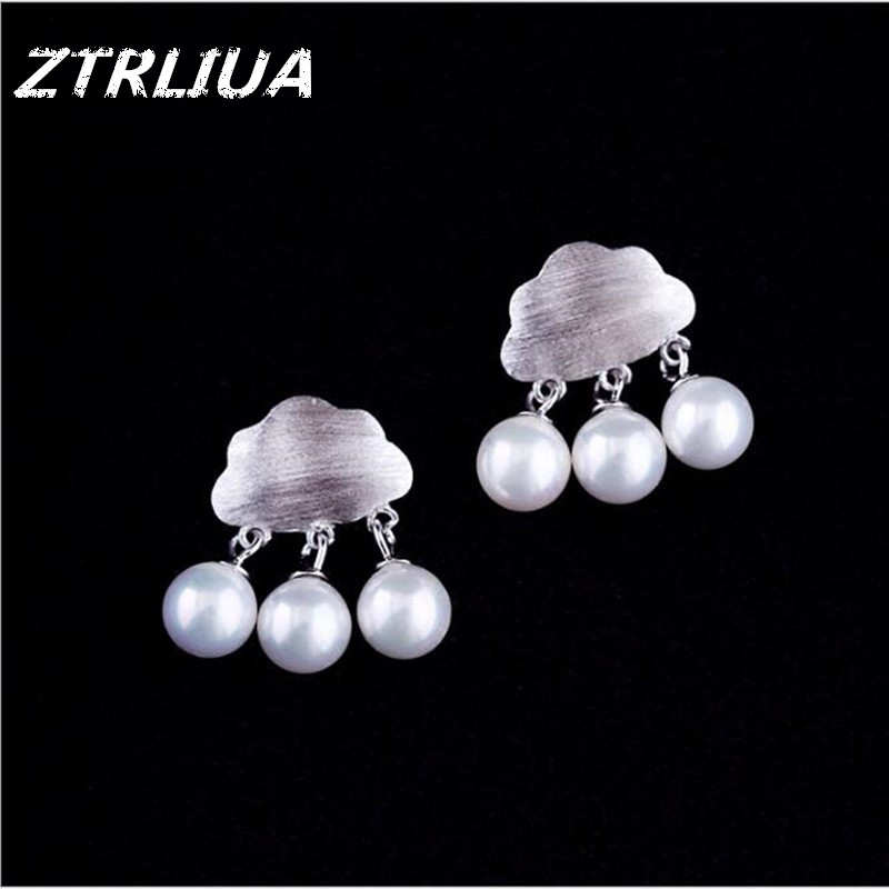 Simple And Fresh Drawing Art Sweet 925 Sterling Silver Fashion Jewelry Personality Clouds Pearl Female Earrings SE191(China (Mainland))